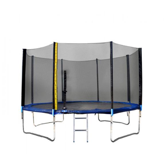 Trampolína XXL 430 cm Linder Exclusiv + ochranná sieť + rebrík + krycia plachta - modrá