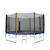 Trampolína XXL 400 cm Linder Exclusiv s vonkajšou ochrannou sieťou + rebrík + krycia plachta - modrá