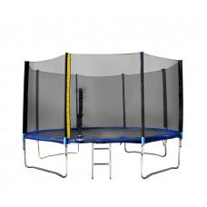 Trampolína XXL400 cm s vonkajšou ochrannou sieťou + rebrík + krycia plachta  Linder Exclusiv- modrá Preview