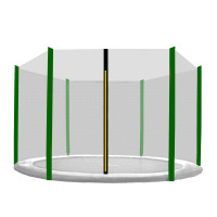 AGA ochranná sieť na trampolínu s celkovým priemerom 305 cm na 6 tyčí - čierna - tmavozelená