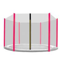 Ochranná sieť na trampolínu s celkovým priemerom 305 cm na 6 tyčí AGA - čierna sieť/ružová