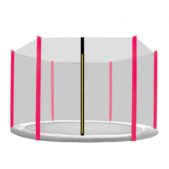 Ochranná sieť na trampolínu s celkovým priemerom 430 cm na 6 tyčí - ružová