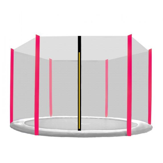 Ochranná sieť na trampolínu s celkovým priemerom 250 cm na 6 tyčí AGA - Čierna sieť/ružová
