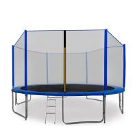 AGA SPORT PRO trampolína 430 cm s vonkajšou ochrannou sieťou modrá + rebrík + vrecko na obuv