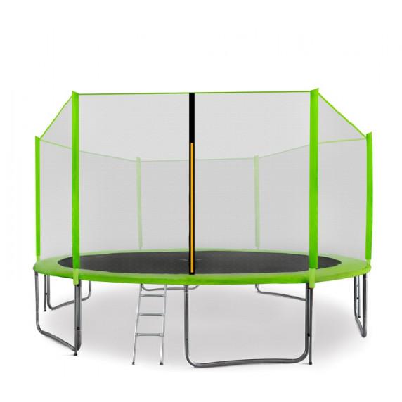 AGA SPORT PRO trampolína 430 cm s vonkajšou ochrannou sieťou svetlozelená + rebrík + vrecko na obuv