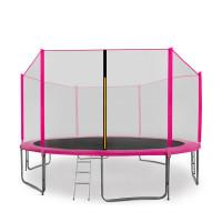 AGA SPORT PRO trampolína 430 cm s vonkajšou ochrannou sieťou ružová + rebrík + vrecko na obuv