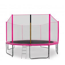 AGA SPORT PRO trampolína 430 cm s vonkajšou ochrannou sieťou ružová + rebrík + vrecko na obuv Preview