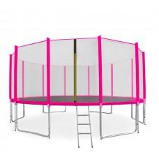 AGA SPORT PRO trampolína 500 cm s vonkajšou ochrannou sieťou ružová + rebrík + vrecko na obuv Preview