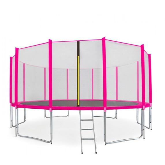 AGA SPORT PRO trampolína 500 cm s vonkajšou ochrannou sieťou ružová + rebrík + vrecko na obuv
