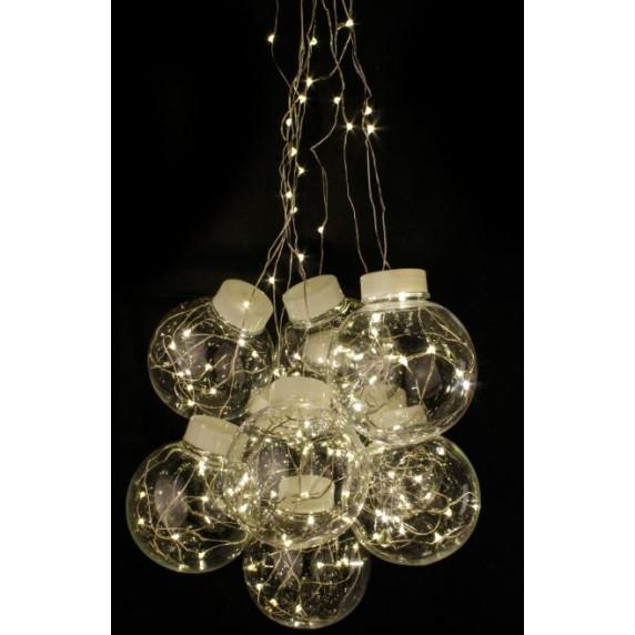 Linder Exclusiv Vianočné gule svetelný záves 200 LED LK064W - Teplá biela