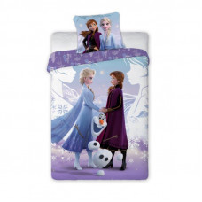 Detské posteľné obliečky 140 x 200 cm Frozen - Elsa, Anna a Olaf