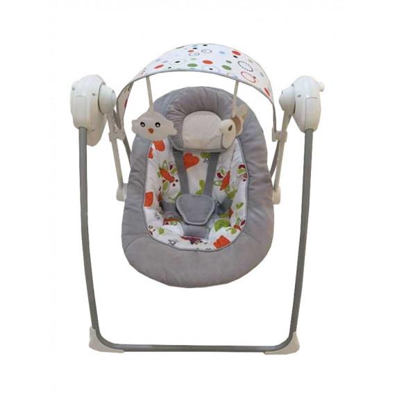 Baby Mix Detské lehátko s hojdačkou a strieškou s hračkami sivé
