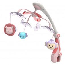 BABY MIX kolotoč nad postieľku so svetelným projektorom Safari ružový Preview