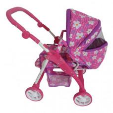 Detský kočík pre bábiky 2v1 Baby Mix ružový - kvetinky Preview