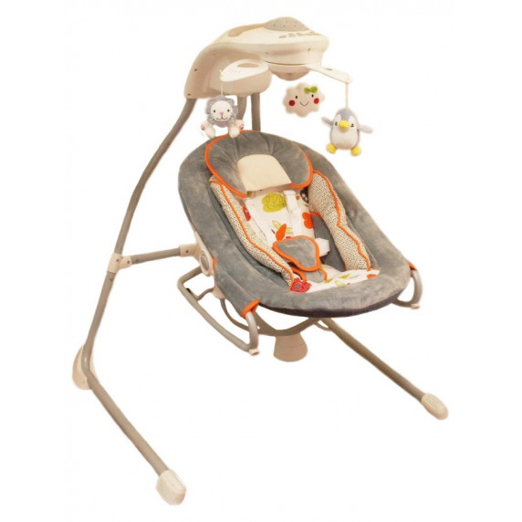 Baby Mix Detské lehátko s hojdačkou a svetelným projektorom šedé