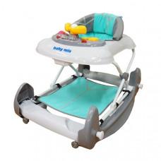 BABY MIX detské chodítko s hojdačkou a silikónovými kolieskami mätové Preview