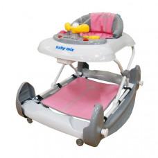 BABY MIX detské chodítko s hojdačkou a silikónovými kolieskami ružové Preview