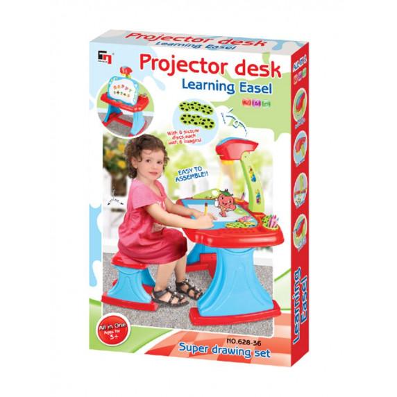 Detská obojstranná tabuľa s projektorom a stoličkou Bayo + príslušenstvo 93 ks