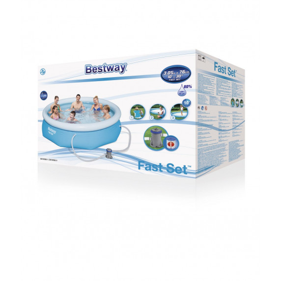 BESTWAY bazén Fast Set 305 x 76 cm s kartušovou filtráciou 57270