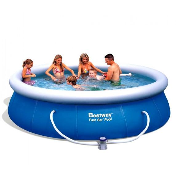 BESTWAY Fast Set samonosný rodinný bazén s kartušovou filtráciou 457 x 91 cm 57124