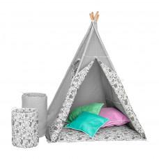 Detský luxusný stan s výbavou Teepee Akuku sivo-biely Preview