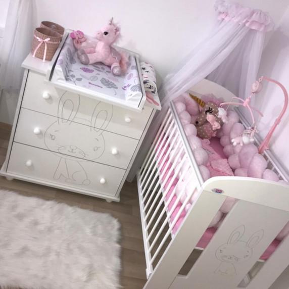 Detská komoda New Baby Králiček biela