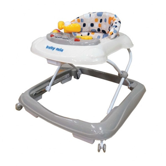 Detské chodítko s volantom a silikónovými kolieskami Baby Mix - sivé