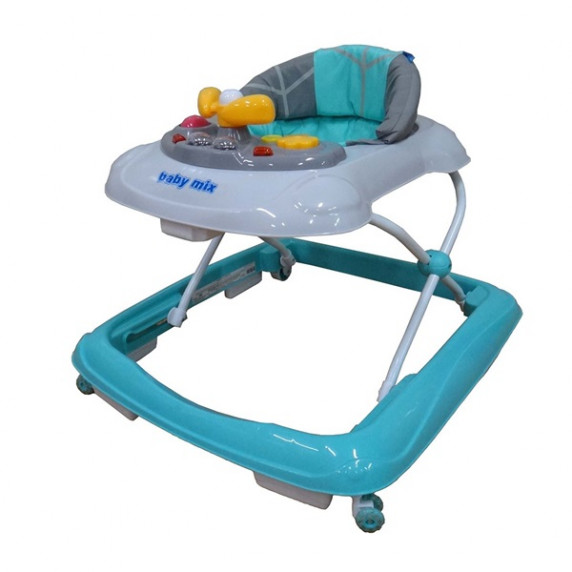 Detské chodítko s volantom a silikónovými kolieskami Baby Mix - modrá