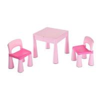 NEW BABY Detská sada stolček a dve stoličky - ružová