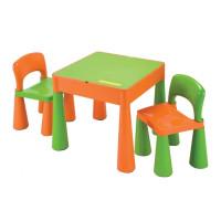 NEW BABY detská sada stolček a dve stoličky - oranžová