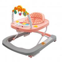New Baby detské chodítko so silikónovými kolieskami Forest Kingdom - Pink