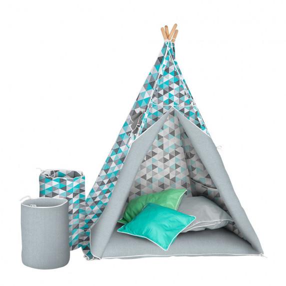 Detský luxusný stan s výbavou Teepee Akuku - Sivo/modrý