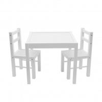 New Baby PRIMA detský drevený stôl so stoličkami - Biely
