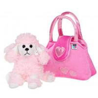 Detská plyšová hračka PlayTo Psík v kabelke ružová