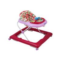 Detské chodítko s volantom a silikónovými kolieskami Baby Mix - tmavo ružové