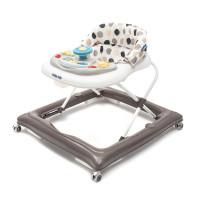 Detské chodítko s volantom a silikónovými kolieskami Baby Mix - sivé/bodkované