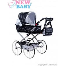 Detský Retro kočík pre bábiky 2v1 New Baby Natálka bielo-čierny Preview