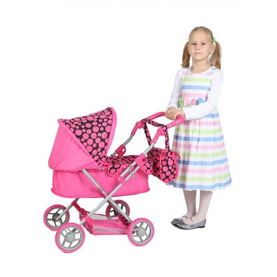 Detský kočík pre bábiky Play TO Viola ružovo-čierny