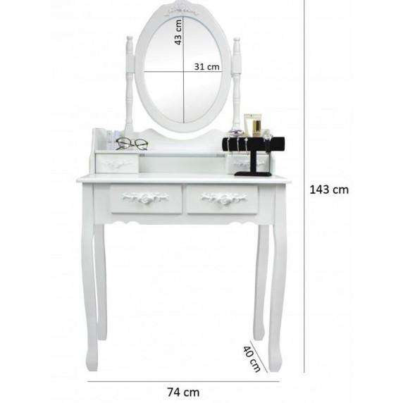 Toaletný stolík s taburetkou Inlea4Fun PHO3992M