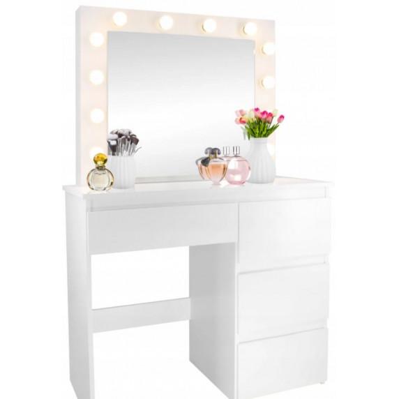Inlea4Fun Toaletný stolík s LED osvetlením a 4 zásuvkami