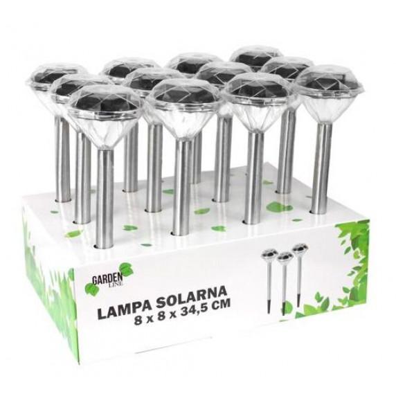 GARDEN LINE Záhradná solárna lampa do zeme Diamond 7,5 x 7,5 x 34,5 cm
