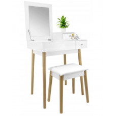 Inlea4Fun Toaletný stolík so zrkadlom a taburetkou - biely Preview