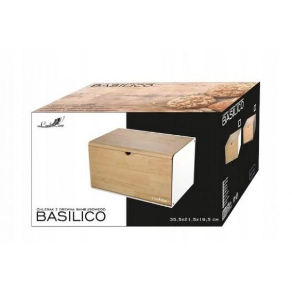 Cook Line BASILICO Chlebník s bambusovým vekom a dvierkami - biely