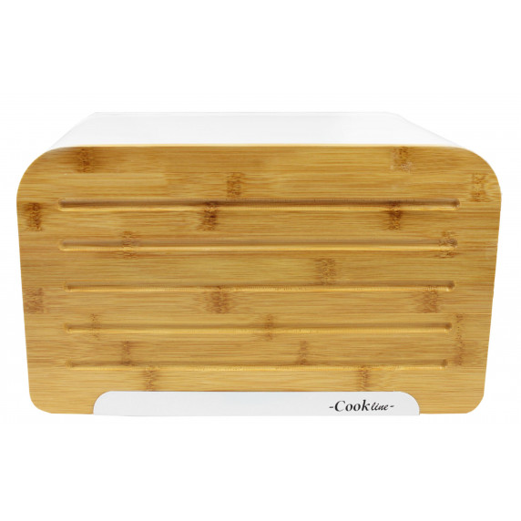 Chlebník s bambusovými dvierkami - biely - Cook Line ORIGANO