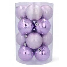 Vianočné gule 16 kusov 8 cm Inlea4Fun - fialové Preview
