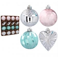 Vianočné ozdoby 16 kusov 6/7 cm Inlea4Fun - ružové/mätové/strieborné Preview
