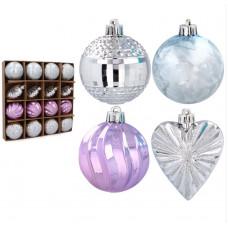 Vianočné ozdoby 16 kusov 6/7 cm Inlea4Fun - fialové/modré/strieborné Preview