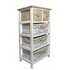 Komoda s 2 zásuvkami a 3 ratanovými košíkmi 40 x 29 x 73 cm InGarden - hnedá Preview