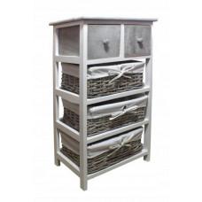 Komoda s 2 zásuvkami a 3 ratanovými košíkmi 40 x 29 x 73 cm InGarden - sivá Preview