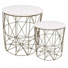 Konferenčný stolík set Inlea4Home 9060/9077 - zlatý/biely Preview
